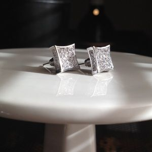 Other - NEW-UNISEX SLVR dipped diamond encrusted earrings